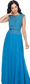 Annabelle 8541-Blue - Lace Applique Sleeveless Dress With Keyhole Neckline