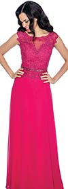 Annabelle 8541-Fuchsia - Lace Applique Sleeveless Dress With Keyhole Neckline