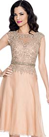 Annabelle 8547-Gold - Cap Sleeve Flared Dress With Keyhole Neckline Lace Bodice