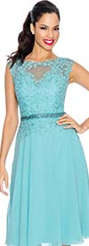 Annabelle 8547-Turquoise - Cap Sleeve Flared Dress With Keyhole Neckline Lace Bodice