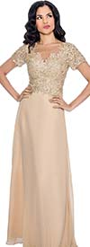 Annabelle 8550-Gold - Long Pleated Short Sleeve Dress With Floral Bodice