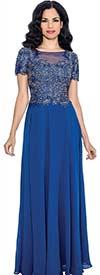 Annabelle 8550-Royal - Long Pleated Short Sleeve Dress With Floral Bodice