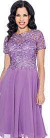 Annabelle 8557-Lilac - Short Sleeve Pleated Dress With Lace Bodice