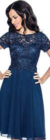 Annabelle 8557-Navy - Short Sleeve Pleated Dress With Lace Bodice