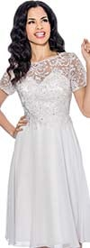Annabelle 8557-White - Short Sleeve Pleated Dress With Lace Bodice