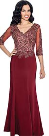 Annabelle 8590-Burgundy - Three Quarter Sleeve Vee Neckline Dress With Floral Applique Bodice