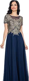 Annabelle 8594-Navy - Short Sleeve Pleated Dress With Gold Applique Bodice
