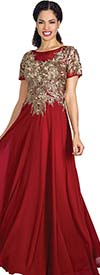Annabelle 8594-Wine - Short Sleeve Pleated Dress With Gold Applique Bodice
