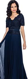 Annabelle 8595-Navy - Pleated Short Sleeve Dress With Vee Neckline & Lace Bodice