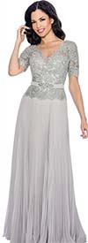 Annabelle 8595-Silver - Pleated Short Sleeve Dress With Vee Neckline & Lace Bodice