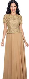 Annabelle 8596-Gold - Short Sleeve Pleated Dress With Lace Bodice