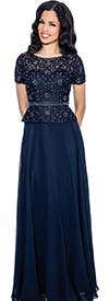 Annabelle 8596-Navy - Short Sleeve Pleated Dress With Lace Bodice