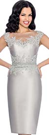 Annabelle 8600 Sleeveless Fitted Dress With Lace Illusion Neckline Bodice