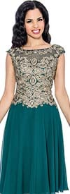 Annabelle 8604-Green - Cap Sleeve Pleated Dress With Gold Bodice Design