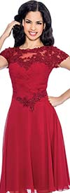 Annabelle 8605-Burgundy - Short Sleeve Pleated Dress With Lace & Ruched Bodice