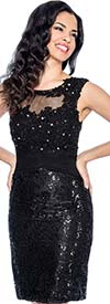Annabelle 8608-Black - Sleeveless Dress With Ruched & Lace Bodice