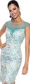 Annabelle 8532-Turquoise Ladies Dress
