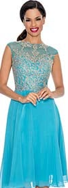 Annabelle 8529-Aqua - Pleated Sleeveless Illusion Dress With Lace Applique