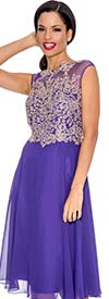 Annabelle 8529-Purple - Pleated Sleeveless Illusion Dress With Lace Applique