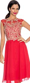 Annabelle 8529-Red - Pleated Sleeveless Illusion Dress With Lace Applique