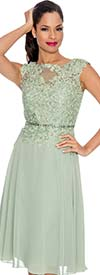 Annabelle 8547-Green - Sleeveless Illusion Dress With Lace Design
