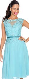 Annabelle 8547-Turquoise - Sleeveless Illusion Dress With Lace Design