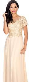 Annabelle 8550-Gold - Illusion Dress With Lace Applique
