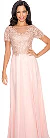 Annabelle 8550-Peach - Illusion Dress With Lace Applique