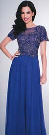 Annabelle 8550-Royal - Illusion Dress With Lace Applique