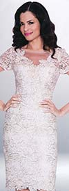 Annabelle 8554 Short Sleeve Illusion Dress With Floral Lace