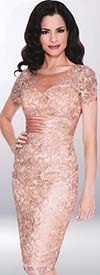 Annabelle 8558 Illusion Dress With Lace Design & Ruched Band