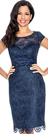 Annabelle 8567-Navy - Cap Sleeve Dress With Lace Cutout Trim