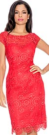 Annabelle 8567-Red - Cap Sleeve Dress With Lace Cutout Trim