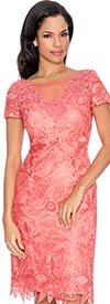 Annabelle 8568-Coral - Short Sleeve Illusion Dress With Lace Design
