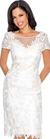 Annabelle 8568-White - Short Sleeve Illusion Dress With Lace Design