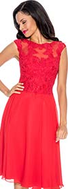 Annabelle 8570-Red - Sleeveless Illusion Dress With Lace Design
