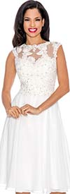 Annabelle 8570-White - Sleeveless Illusion Dress With Lace Design
