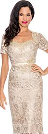 Annabelle 8571-Champagne Lace Adorned Short Sleeve Dress
