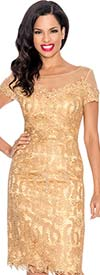Annabelle 8572-Gold - Illusion Dress With Lace Design