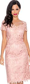 Annabelle 8572-Rose - Illusion Dress With Lace Design