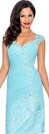 Annabelle 8573-Aqua - Sleeveless Ruched Dress With Lacy Sweetheart Neckline