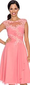 Annabelle 8574-Coral - Sleeveless Dress With Illusion Lace Design