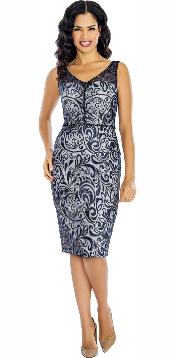 Annabelle 8618-Navy - Sleeveless Lace Dress With Vee Neckline