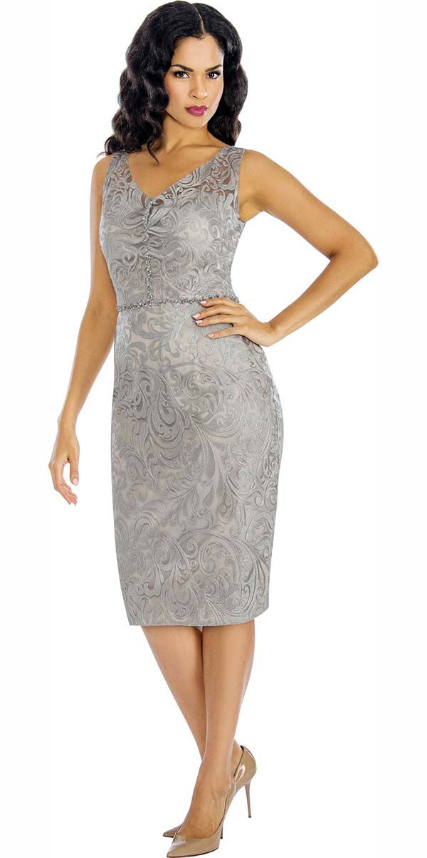 Annabelle 8618-Silver - Sleeveless Lace Dress With Vee Neckline
