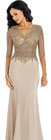 Annabelle 8622 Illusion Sleeve Dress With Vee Neckline & Lace Applique