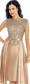 Annabelle 8624-Gold - Sleeveless Dress With Lace Applique Bodice & Pleated Accents