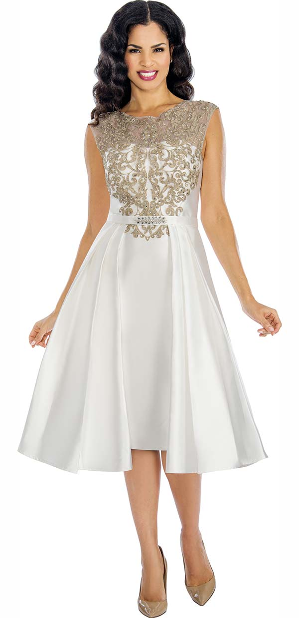Annabelle 8624-Pearl - Sleeveless Dress With Lace Applique Bodice & Pleated Accents