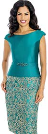 Annabelle 8625-Teal - Cap Sleeve Dress With Boat Neckline