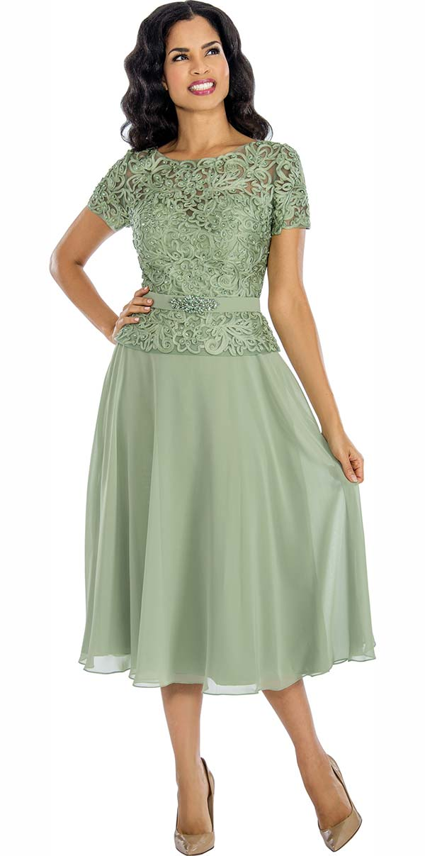 Annabelle 8626-Sage - Short Sleeve Tulle Dress With Lace Applique