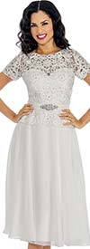 Annabelle 8626-White - Short Sleeve Tulle Dress With Lace Applique